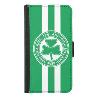 Ireland Éire Shamrock Green and White Samsung Galaxy S5 Wallet Case