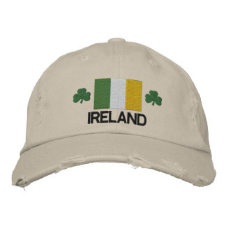 Ireland Flag and Shamrock Embroidered Hat Embroidered Hats