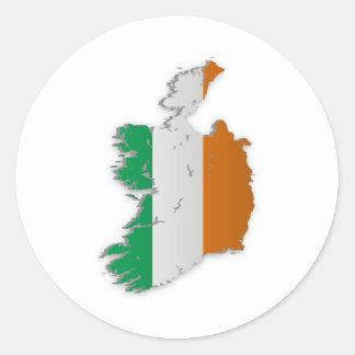 Ireland Flag Map Round Sticker