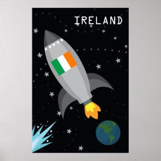 Ireland Flag Rocket Ship Poster
