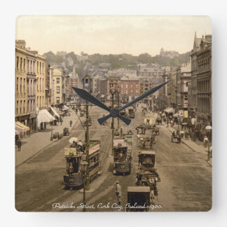 Ireland wall clock, Vintage Cork street scene Square Wall Clock