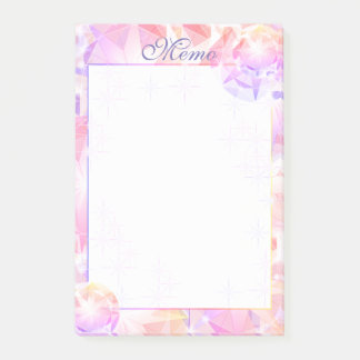 Iridescence Pink Lavender Compass Rhinestone Post-it Notes