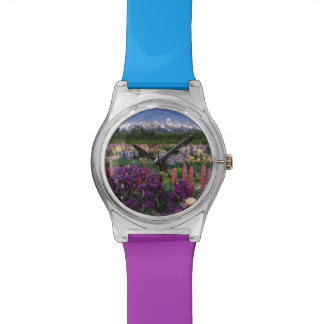 Iris and Lupine garden and Teton Range, Watch