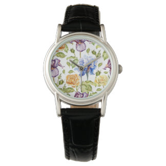 Iris and roses watercolor floral pattern watch