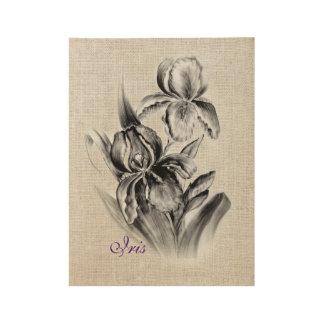 Iris Flower sketch charcoal Wood Poster