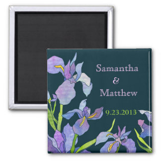 Iris Wedding Save the Date Square Magnet