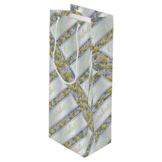 Irises horseshoes pattern congratulations wine gift bag