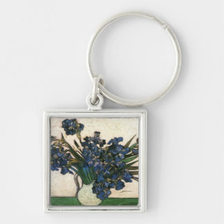 Irises In Vase (Van Gogh) Silver-Colored Square Key Ring