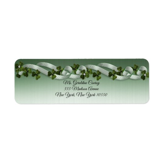 Irish address labels shamrocks and ribbons