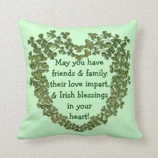 Irish blessing heart pillow