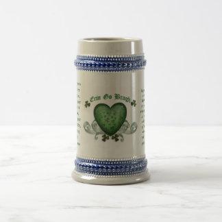 Irish drinking mug Erin go bragh Irish heart