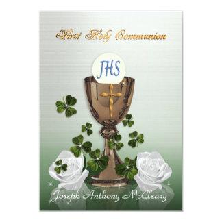 Irish First Communion invitation with shamrocks