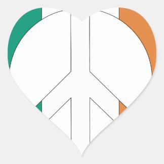 Irish Flag Peace Symbol Heart Sticker