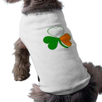 Irish Flag Shamrock St. Patrick's day dog shirt