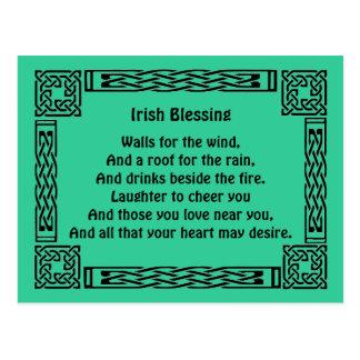 irish good luck blessing postcard