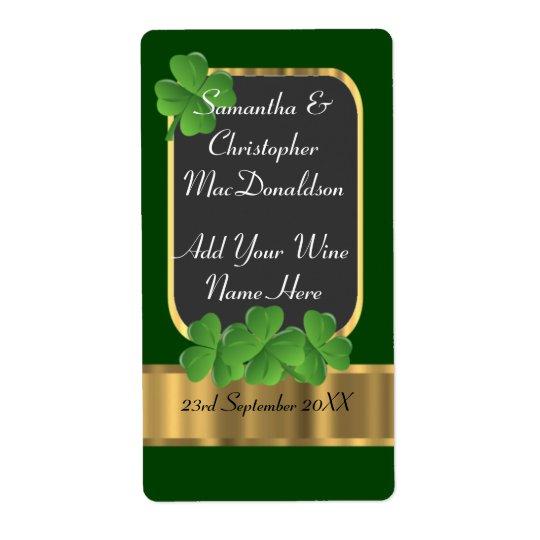Irish green and gold wedding wine bottle