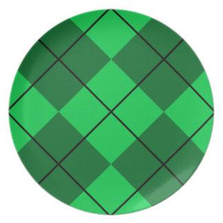 Irish Green Argyle Party Plate