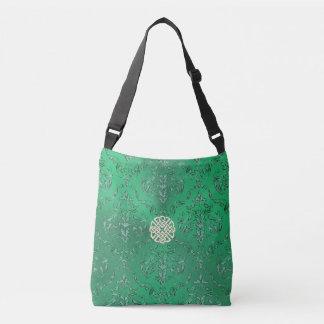 Irish Green Damask With White Gold  Celtic Knot Crossbody Bag