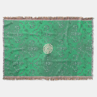 Irish Green Damask With White Gold  Celtic Knot Throw Blanket