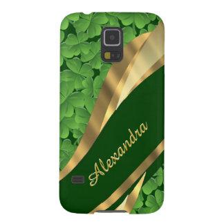 Irish green shamrock pattern personalized galaxy s5 covers