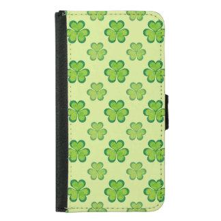Irish Lucky Shamrocks Clovers Seamless Pattern Samsung Galaxy S5 Wallet Case
