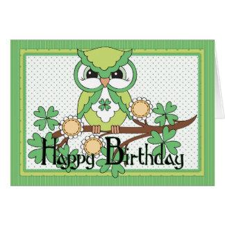 Happy birthday in irish gifts t shirts art posters other gift irish owl happy birthday greeting card m4hsunfo Gallery