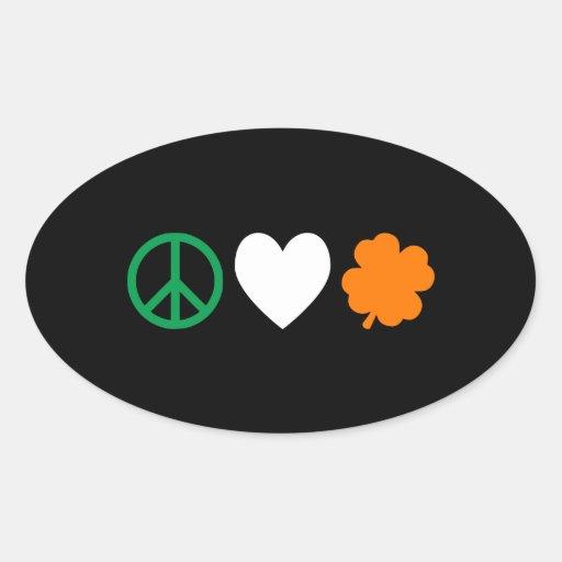Irish Peace Love & Shamrocks Oval Sticker