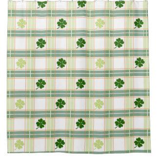 Irish Plaid Shamrock Shower Curtain