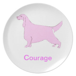 Irish Setter Courage Cancer Awareness Plate