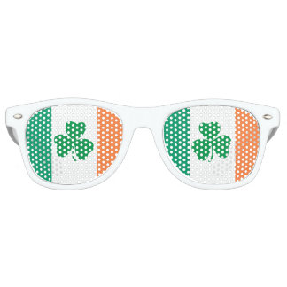 Irish Shamrocks and Irish Flag Retro Sunglasses