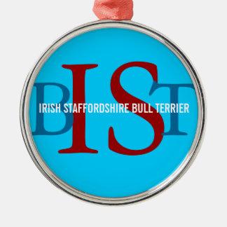 Irish Staffordshire Bull Terrier Monogram Christmas Ornament