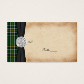 Irish Tartan Celtic Claddagh Wedding Place Cards