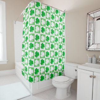 Irish Themed Shamrocks Checkerboard Pattern Shower Curtain