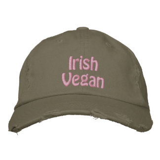 Irish Vegan, St. Patrick's Day, Pink Green Embroidered Baseball Cap