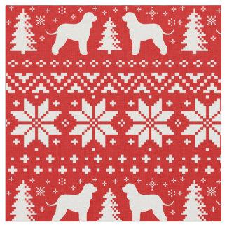 Irish Water Spaniels Christmas Pattern Red Fabric