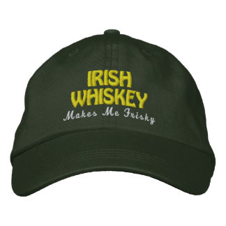 IRISH Whiskey Frisky Pine Green Hat Gold Stitch Embroidered Hat