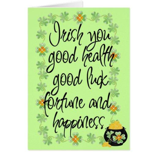 Good Luck Greeting Cards Irish You Good Luck Greeting