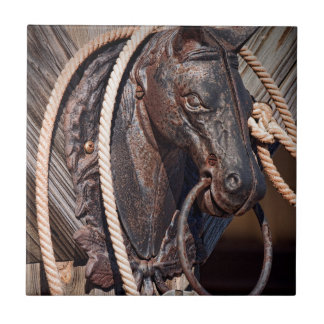 Iron Horse Hitching Post and Rope Tile