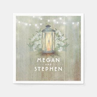 Iron Lantern Lights Floral Rustic Barn Wedding Paper Napkin
