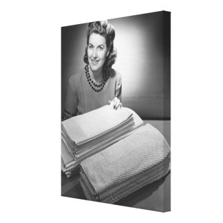 Ironed Linen and Towels Stretched Canvas Print