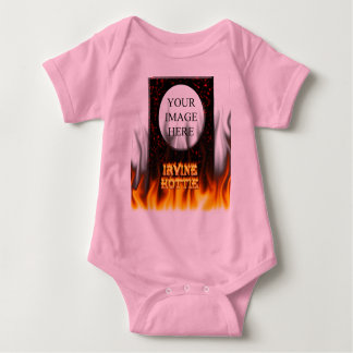 Irvine hottie fire and flames Red marble Baby Bodysuit