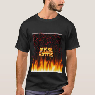 Irvine hottie fire and flames Red marble T-Shirt