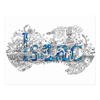 Isaac name art design by Dick Skilton Postcard