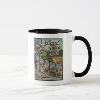 Island Park, Idaho - Large Letter Scenes Mug
