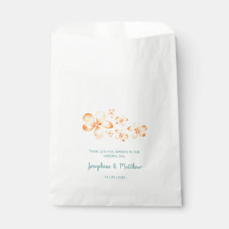 Island Plumeria Watercolor Wedding Favour Bags