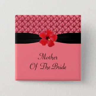 Island Starfish Coral & Black Magnolia Wedding 15 Cm Square Badge