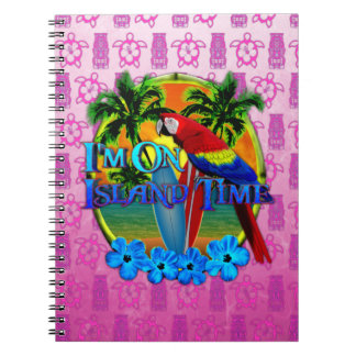 Island Time Sunset And Tikis Spiral Notebook