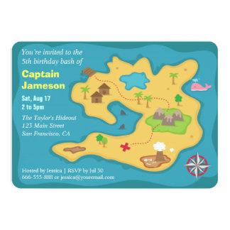 Island Treasure Map, Pirate Birthday Party 13 Cm X 18 Cm Invitation Card