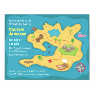 Island Treasure Map, Pirate Birthday Party Personalized Invitation
