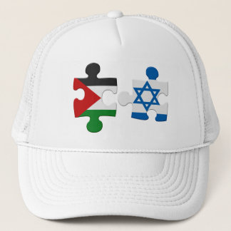 Israel and Palestine Conflict Flag Puzzle Trucker Hat